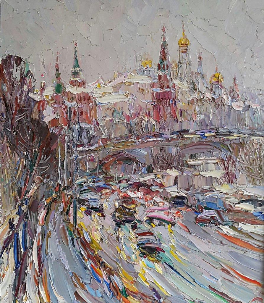 Снег в Москве 80х70 см