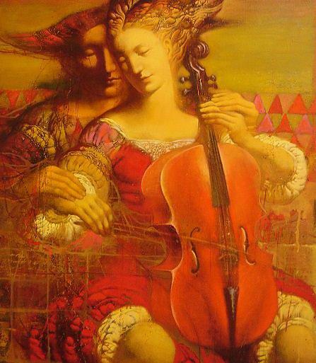 Игра на виолончели.