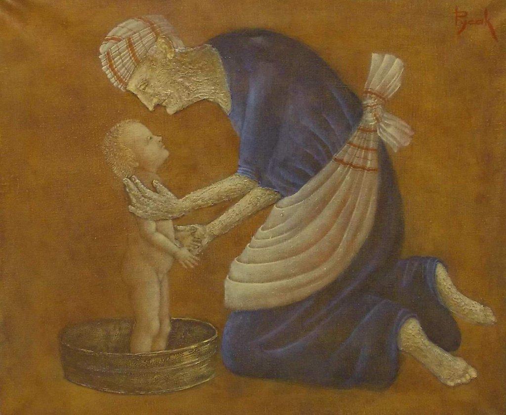 Старуха, моющая ребенка.