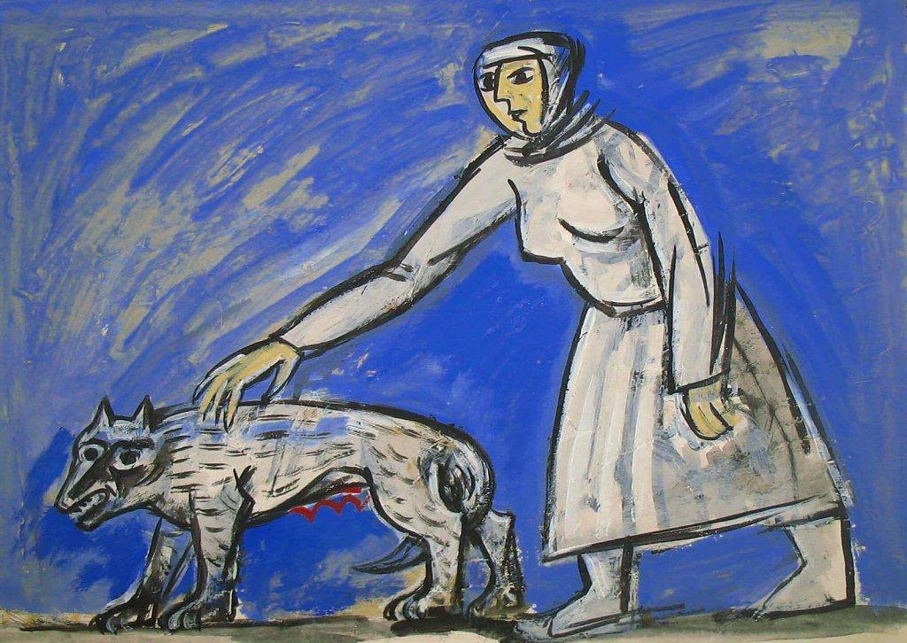 Дама выгуливает собаку.
